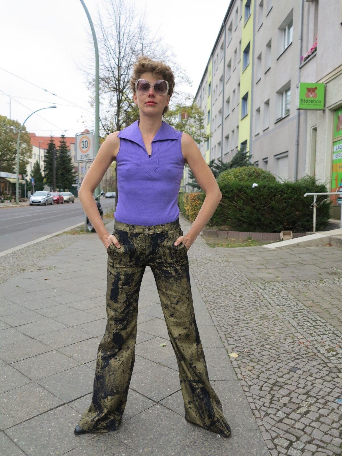 Lucie Linden top Shirt Polo ärmellos 38 purple 90er TRUE VINTAGE 90s t-shirt purplec