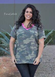 PLUS SIZE Womens USA CAMO ARMY CAMOUFLAGE PINK CONTRAST SHIRT TUNIC 1X 2X 3X