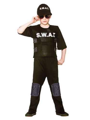 Hat Child Boys Swat Team Commander Police US Cop Officer Fancy Dress Costume