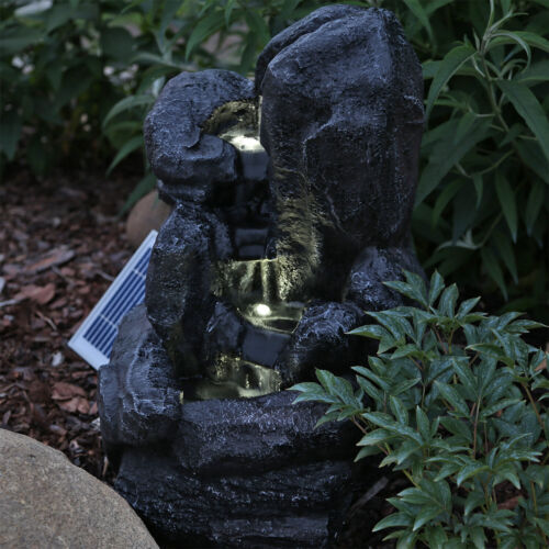 CLGarden Solar Springbrunnen NSP14 mit Akku LED Beleuchtung Gartenbrunnen Licht