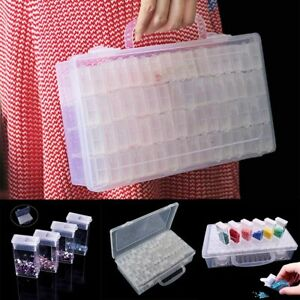 UK 64 Grids Diamond Embroidery Painting Nail Art Accessory Display Storage Box
