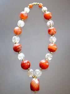 Superbe-collier-agate-cristal-de-roche-pierres-anciennes-Old-necklace-stone
