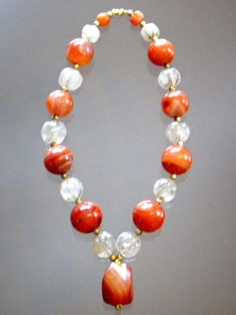 Superbe collier agate cristal de roche pierres anciennes Old necklace stone