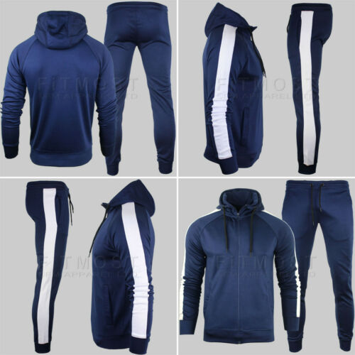 Mens Polyester Tracksuit Set Slim Fit Casual Suit Scuba Casual Gym Training