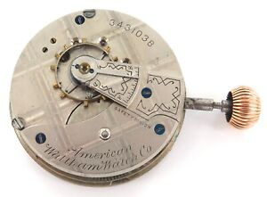 NICE-1888-WALTHAM-18S-11J-LEVER-SET-MENS-POCKET-WATCH-MOVEMENT-DIAL-amp-CROWN