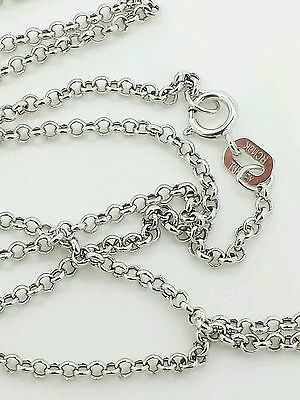 """10k White Gold Round Rolo Link Necklace Pendant Chain 20/"""" 1.9mm"""
