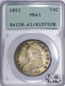 "1821 Capped Bust Half Dollar PCGS MS-61; Premium Quality, ""Rattler"""