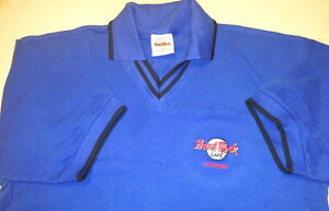 Hard-Rock-Cafe-LONDON-Navy-Blue-Collared-POLO-Shirt-MENS-Size-MEDIUM-20-5-034-x18-5-034