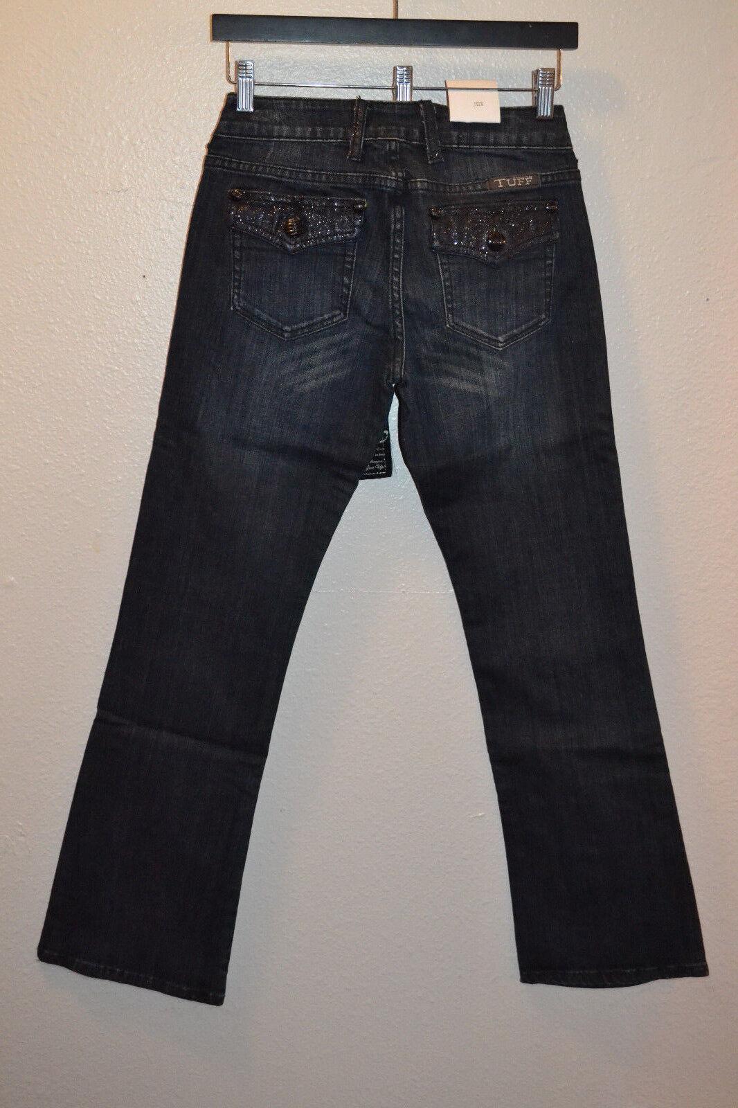 NEW Cowgirl Tuff Jeans 32 x 35 Glitter Bronc Dark Wash Midrise Boot Cut Western