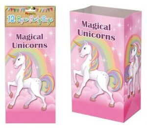 12-Unicorn-Paper-Bags-Gift-Treat-Candy-Sweet-Girl-Pink-Party-Loot-Lunch-Picnic