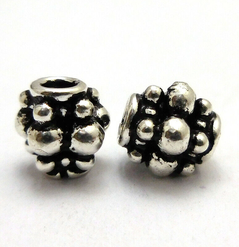 8 PCS 12X6MM SPACER BEAD OXIDIZED STERLING SILVER PLATED 889