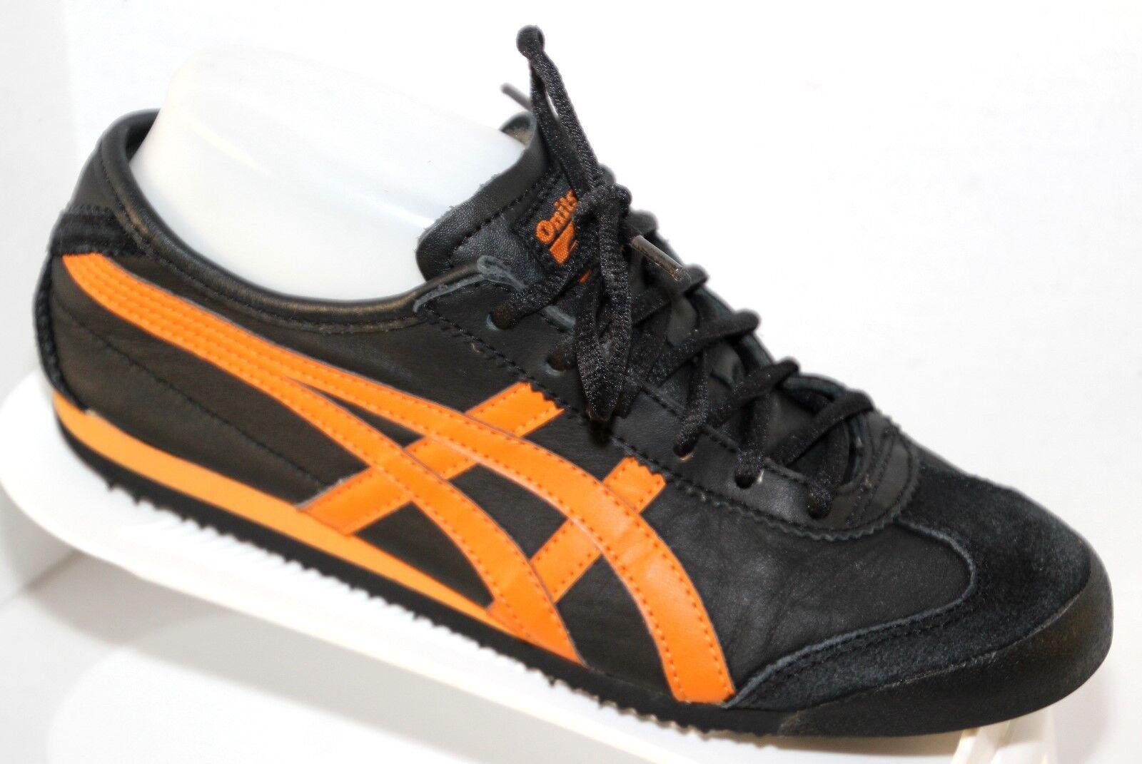 Asics Onitsuka Tiger  HL202   Black orange Leather Sneakers sz 6