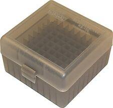 MTM 100 Round Rifle Durable Plastic Ammo Box Ammunition Storage Case Clear Smoke