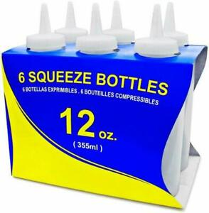 New-Star-Foodservice-26146-Squeeze-Bottles-Plastic-12-oz-Clear-Pack-of-6