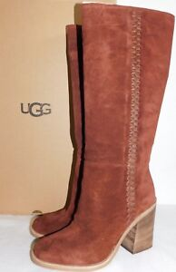 9b280f73482 Details about NEW WOMENS SZ 10 MAHOGANY UGG 1018941 MAEVA TALL KNEE HIGH  SUEDE 3.75 HEEL BOOTS