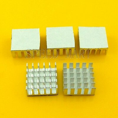 5PCS Heat Sink with Thermal Adhesive for Computer CPU Memory Chip IC 22*22*10mm