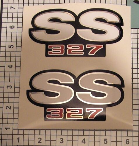 SS Decals 327 Camaro Chrome Red Black White Fender NICE