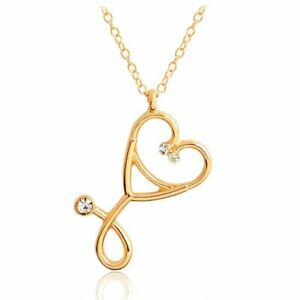 Charm-Women-Hollow-Crystal-Stethoscope-Chain-Pendant-Choker-Necklace-Jewelry-New