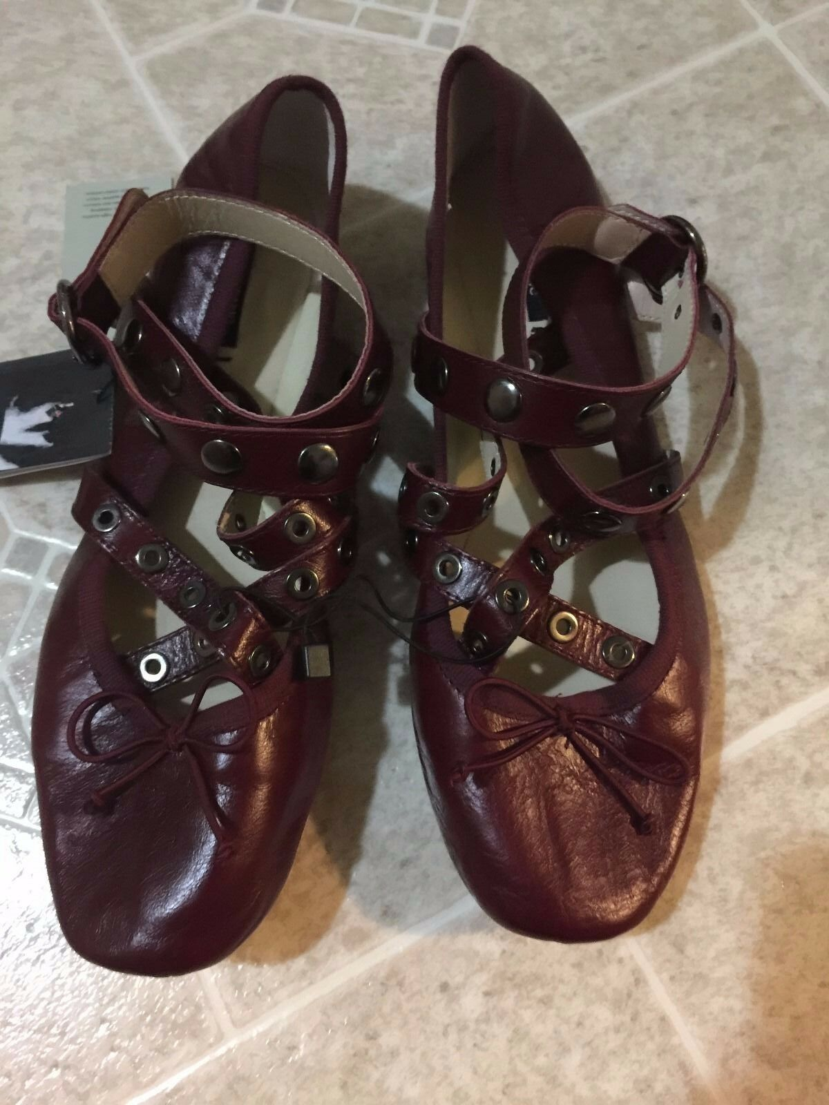 ZARA  LEATHER BALLET FLATS WITH STRAPS AND STUDS BURGUNDY- SIZE US 5