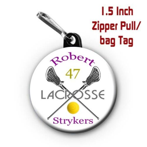 Two Personalized 1.5 Inch Lacrosse Zipper Pull//Bag Tags with Name Team Colors