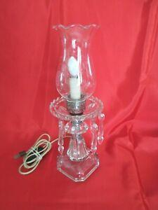 VTG-CRYSTAL-GLASS-HURRICANE-ELECTRIC-TABLE-BOUDOIR-LAMPw-7-SPEAR-HEAD-PRISMS-14-034