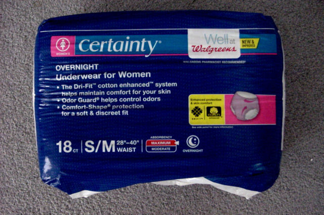 c085467d0a5c Walgreen's Certainty Overnight Incontinence Underwear Women 18 Ct Briefs S/M