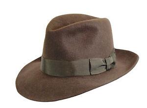 1977bca55d1 Brown Indiana Jones Style Fedora Hat 100% Wool Felt Men s Trilby by ...