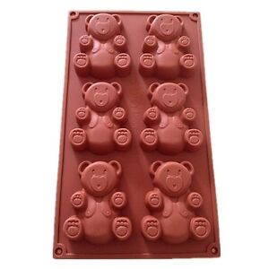 6-Cavidad-Oso-De-Peluche-Silicona-Decoracion-Moldes-galletas-de-chocolate-dulces-Hornear-Mol