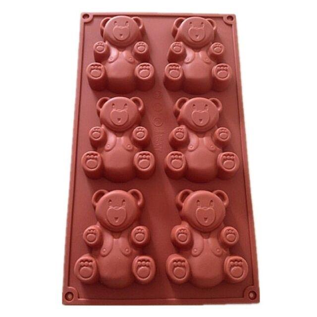 6 Cavité Nounours Silicone Decorating Moulds Candy Cookie Chocolat Pâtisserie Mol