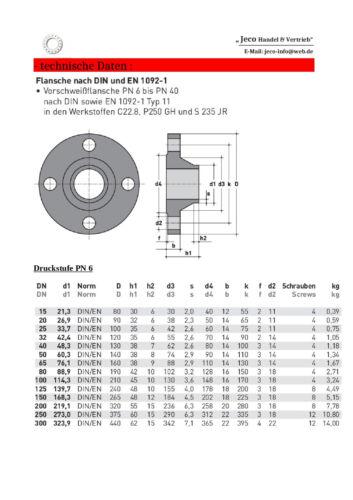 Vorschweißflansch PN 6-16 40 von DN 15 DN 250