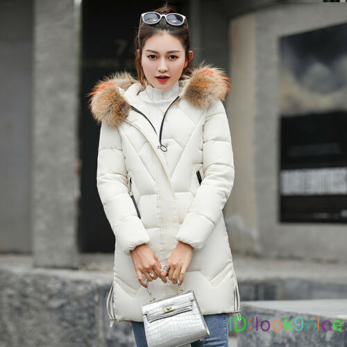 Women/'s Winter Thicken Fur Collar Hooded Long Down Cotton Jacket WARM Coat Parka