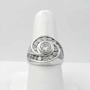 14k-White-Gold-3ctw-Unisex-Diamond-Solitaire-Halo-Swirl-Bypass-Ring-Sz-9