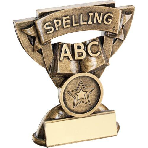 """Gravure Gratuite jusqu/'à 30 lettres Orthographe Trophy Award 3.75/"""" 93 mm"""