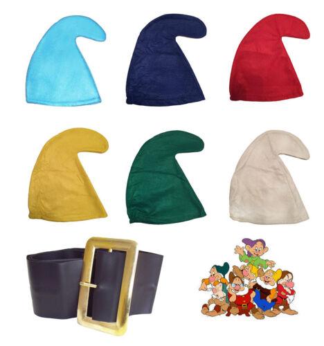 SEVEN DWARFS//DWARVES SMURF HAT GNOME HAT /& BELT SET SNOW WHITE FANCY DRESS PARTY
