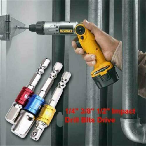 """Socket Adapters Set Hex Shank to 1//4/"""" 3//8/"""" 1//2/"""" Impact Driver Drill 3 pcs Color"""
