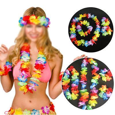 10x 4pc Costume Hawaiano Fiore Lei Collana Ghirlanda Fascia Per Capelli Hula Set Hw31-mostra Il Titolo Originale