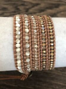 New-Auth-Chan-Luu-Gold-Mix-Five-Wrap-Bracelet-on-Beige-Leather