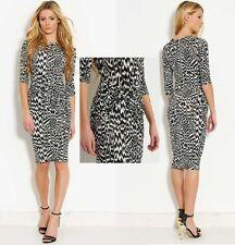 Womens Designer Knot Front Zebra Print Midi Bodycon Cruise Party Dress UK 8 BNWT