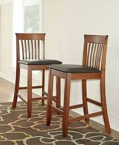 Details About Counter Height Bar Stools Set Of 2 Wooden Brown Kitchen Seat With Back Padded
