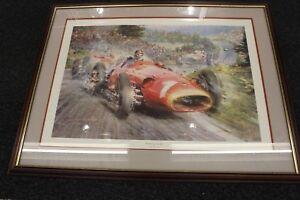 Framed-Litho-034-The-Maestro-at-His-Best-034-J-M-Fangio-by-Alfredo-de-la-Maria-LE