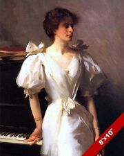 BEAUTIFUL WOMAN IN WHITE GOWN DRESS PIANO OIL PAINTING ART PRINT ON REAL CANVAS