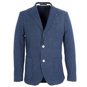 MANUEL RITZ Blue Houndstooth Lapel Stitched Wool Blend Blazer 113G2929L $418 NWT