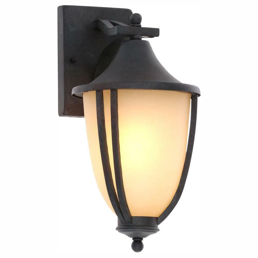 Linterna al aire libre Hierro Rústico 1 Luz de Lámpara de Parojo Montaje Iluminación Hogar (2 paquetes)