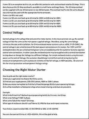 Elimia DOL Magnetic Motor Starter 20 HP 120V 23-32A Hinged Steel Enclosure 40