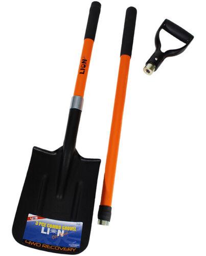 Lion 3 Piece Combination Shovel Fibreglass D /& L Handle Off Road 4WD Recovery Sp