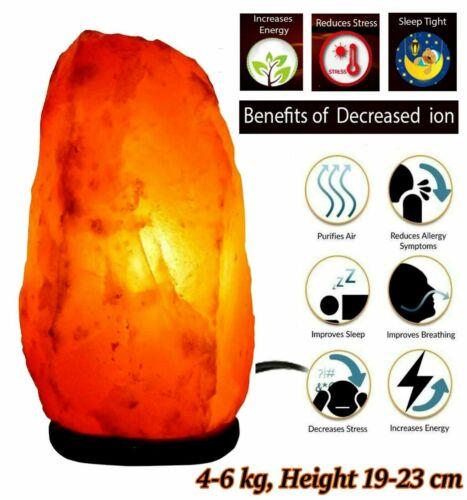 Sel de l/'Himalaya Lampe Naturel Cristal de Roche Rose Hand Crafted UK Plug /& Ampoule 4-6 kg