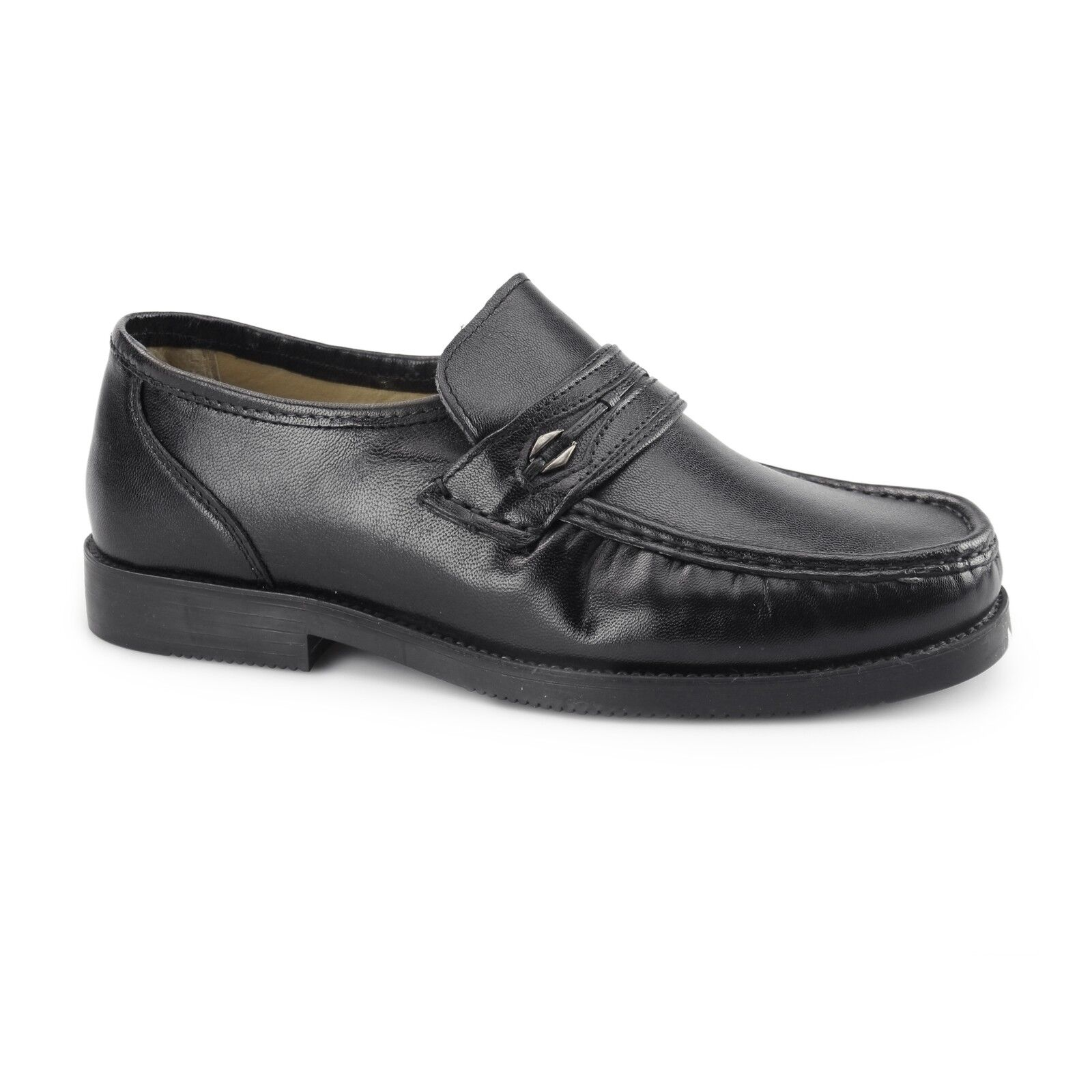 Tycoons BARRIE Mens Leather Extra Wide Fit Slip On Comfort Moccasins shoes Black