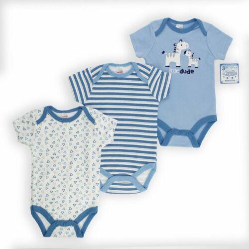 Baby Boy Baby Grow Bodysuit 3 PACK Zebra//Racoon Designs Sizes Newborn 9 Months