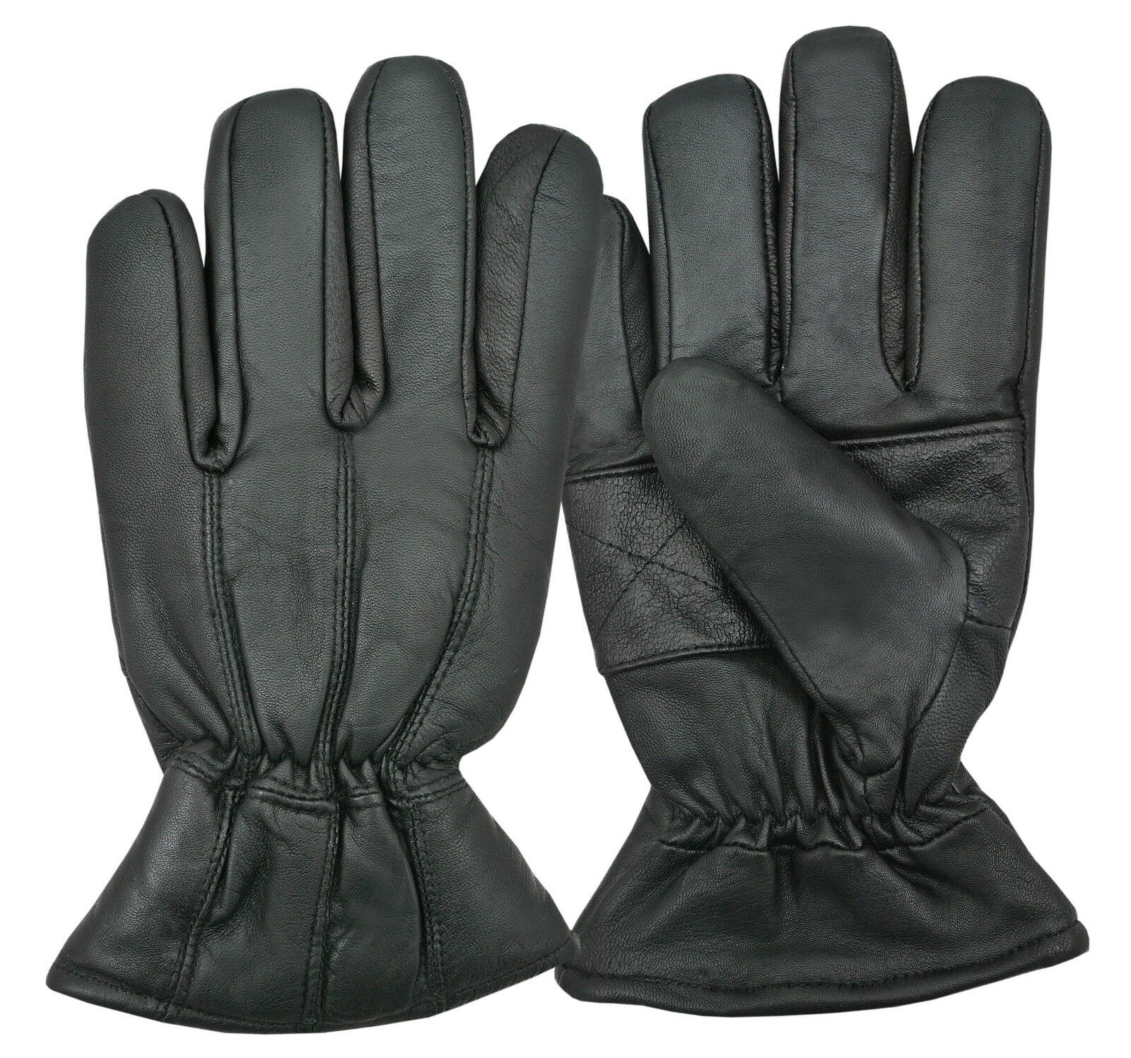 Black Luxury Winter Warm Thermal Fleece Lined Leather Gloves Dressing Driving