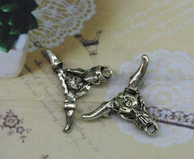 8/25pcs 37x28mm Antique silver lovely delicate cow skull charm pendants